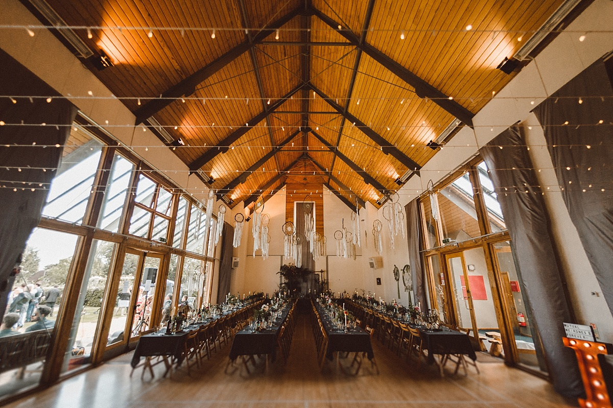 amazing Village hall decorated for alternative wedding