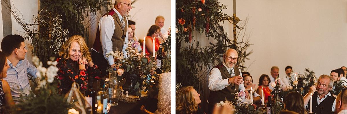 Wedding speeches at alternative wedding