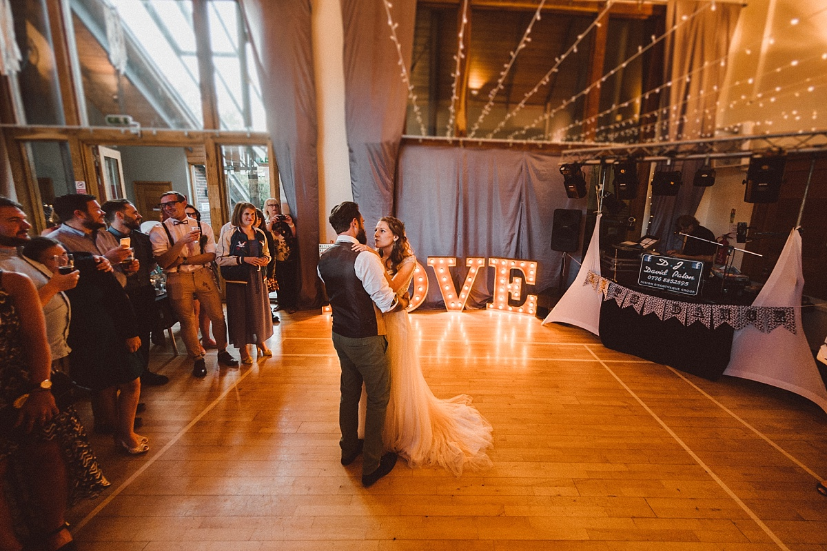 The first dance at village hall wedding