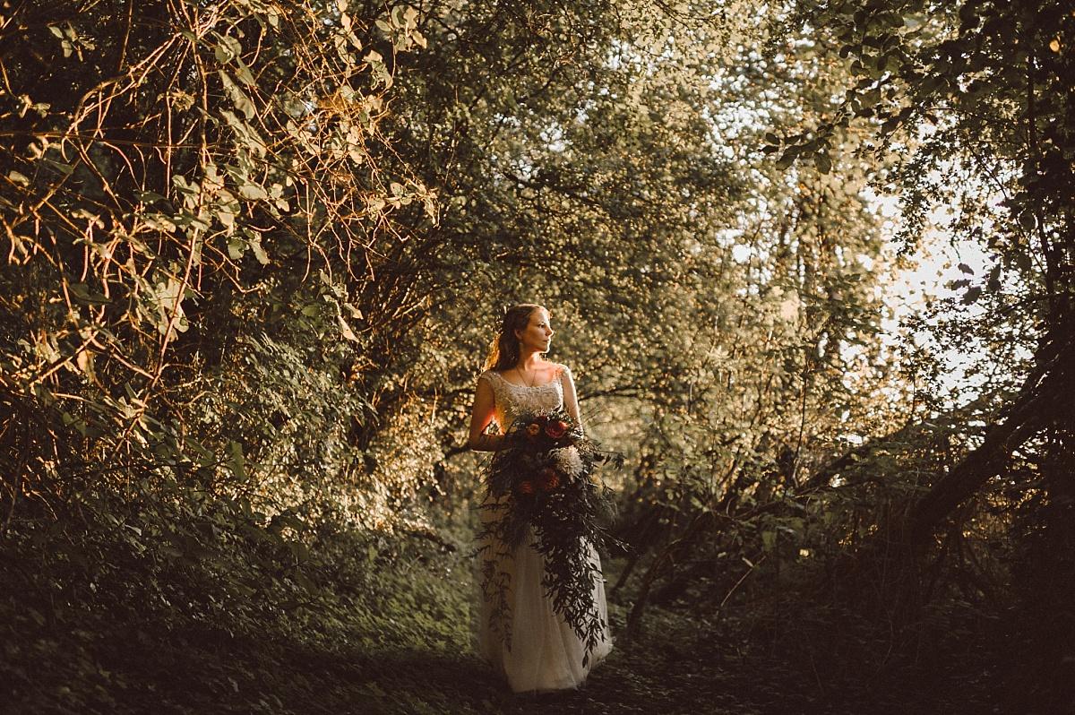 Alternative Bride looking into the Sun