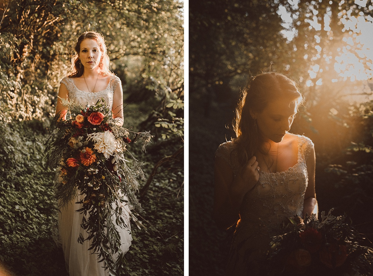 Bohemian bride with wedding bouquet