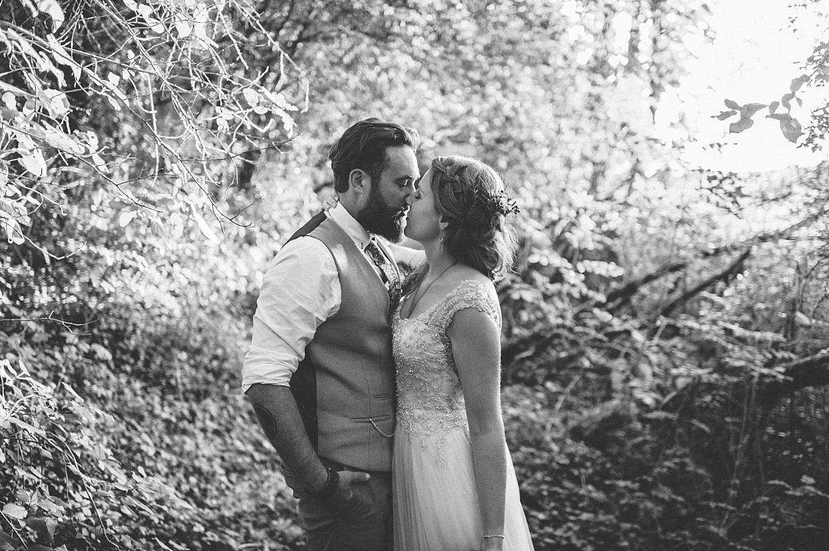 Cool alternative wedding photo of couple