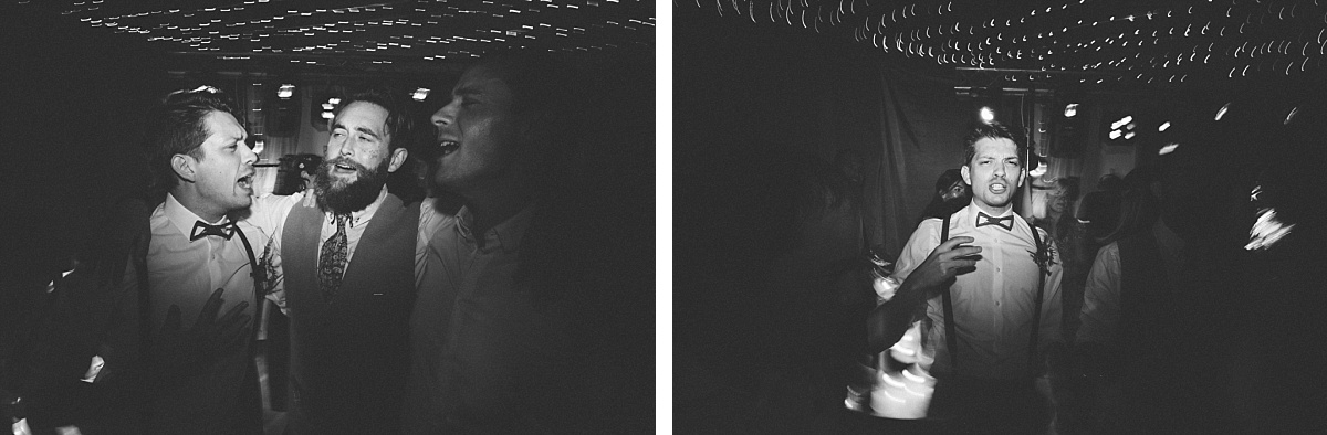 two photos of Groomsmen dancing with drunk Groom