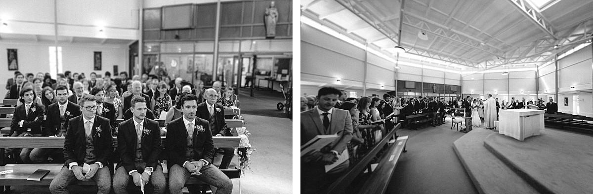 black & white photo of wedding ceremony