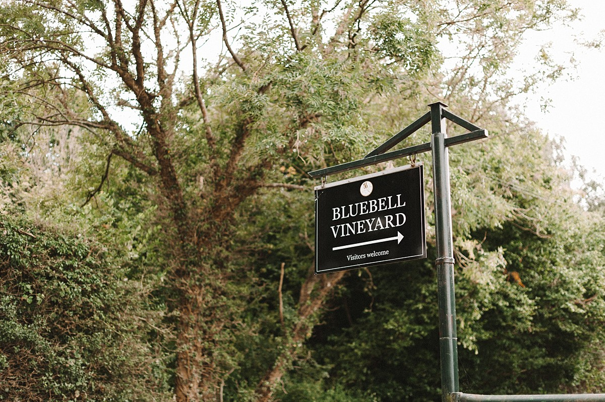 photograph of bluebell vineyard wedding sign