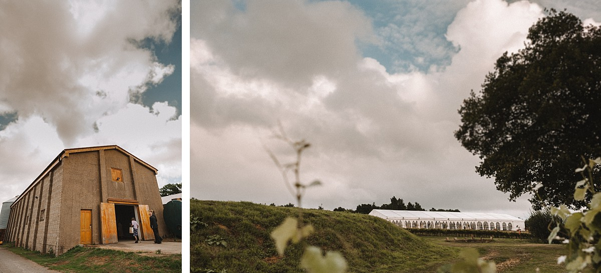 the barn and the marquee at bluebell vineyard wedding