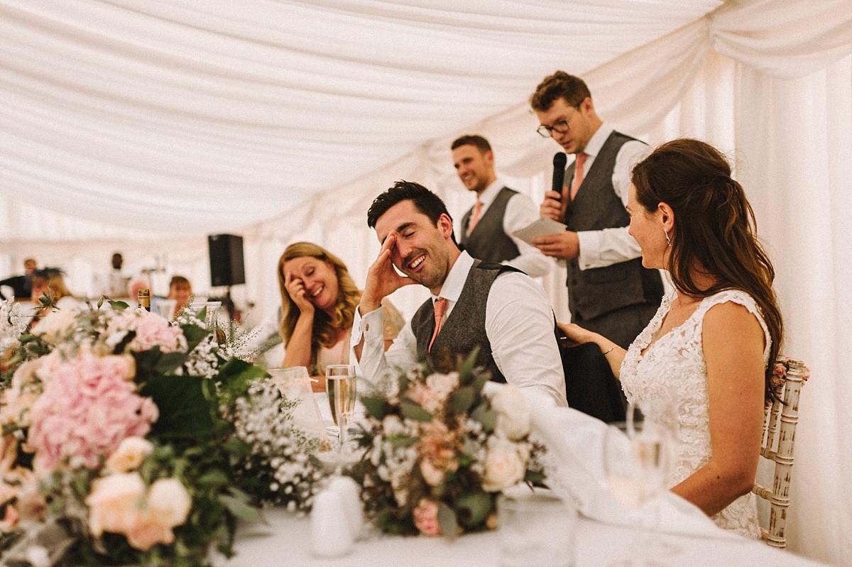 embarresed groom during bestman speech