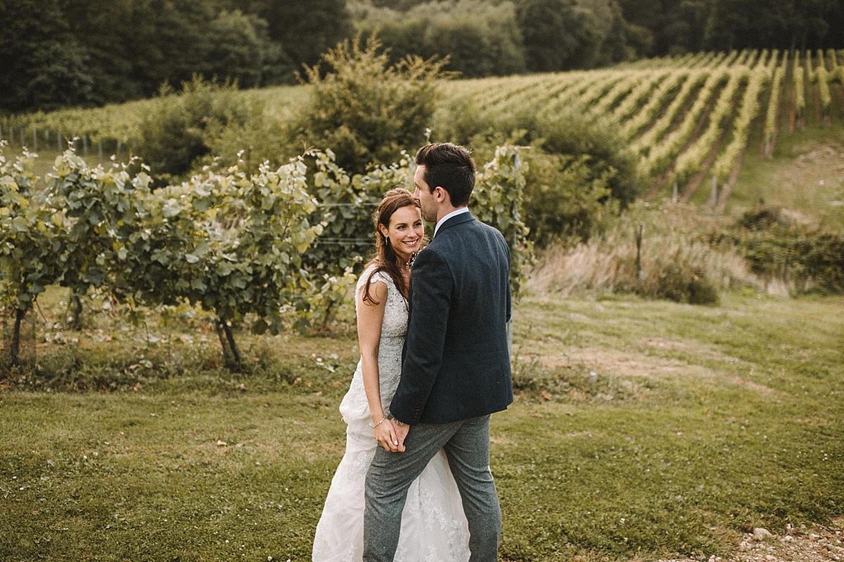 happy bride in a vineyard