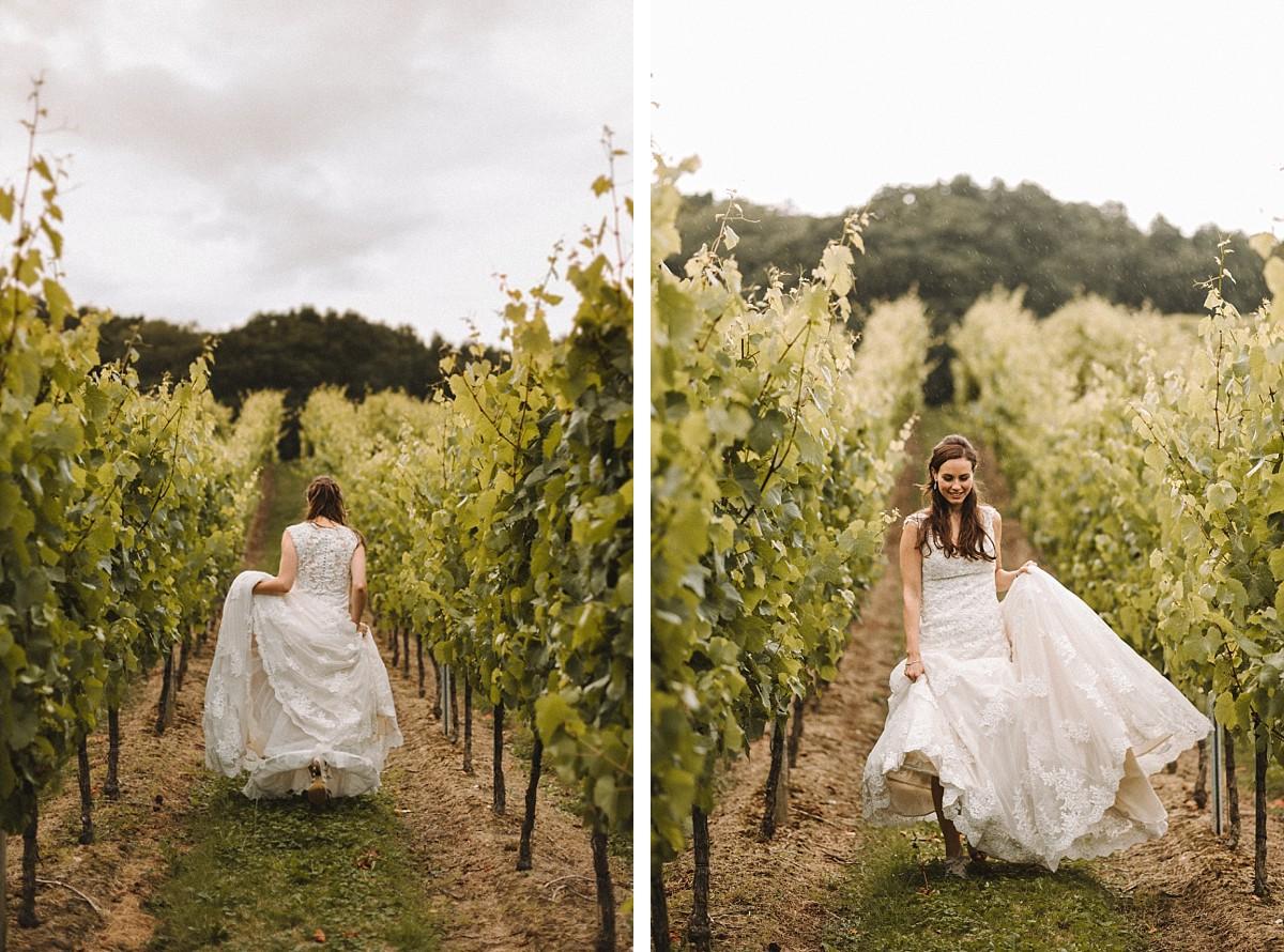 bride at Bluebell Vineyard wedding