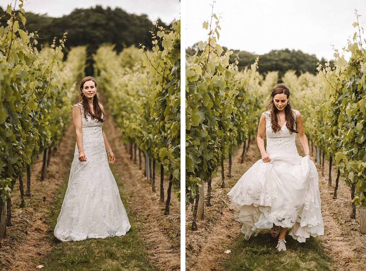 colour photograph of cool bride in vineyard