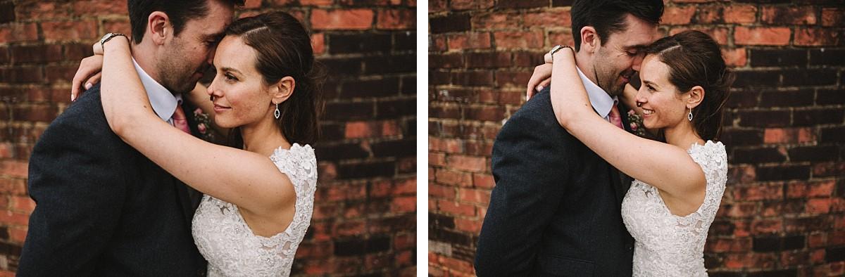stylish couple on wedding day