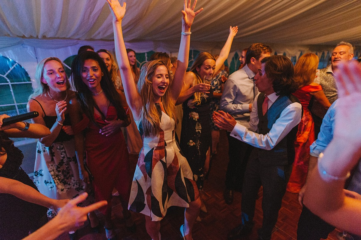 girl dancing at wedding reception