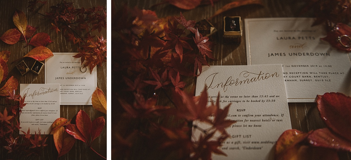 Wedding invitation in Surrey