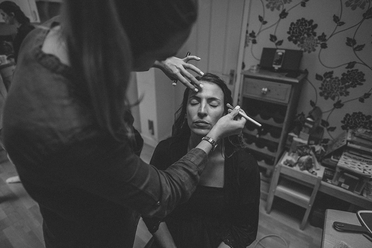 Black & white photo of wedding makeup in Surrey