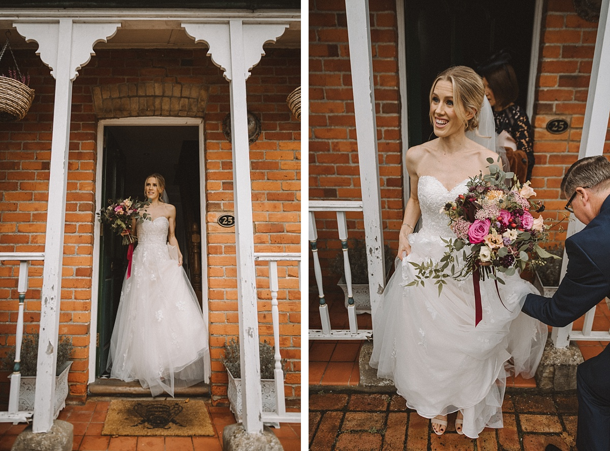 Bride walking out of house to go to wedding