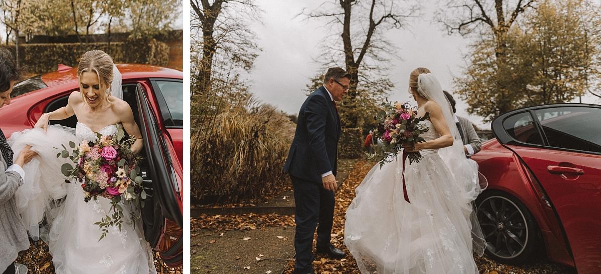 Bridegetting out of wedding car in Surrey
