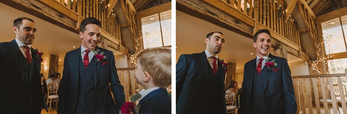 Groom with grooms men at Barn wedding