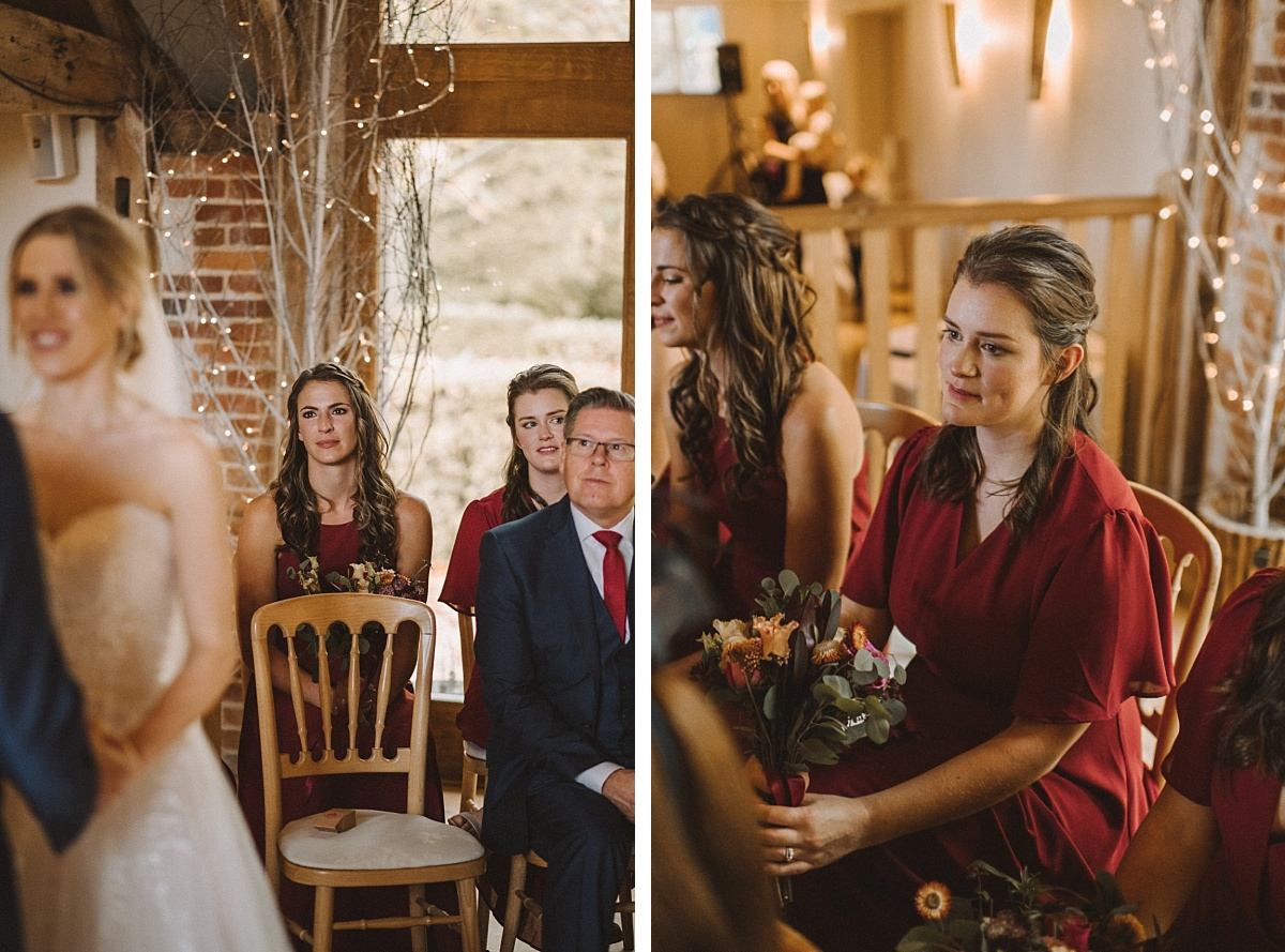 Guests watching friend getting married