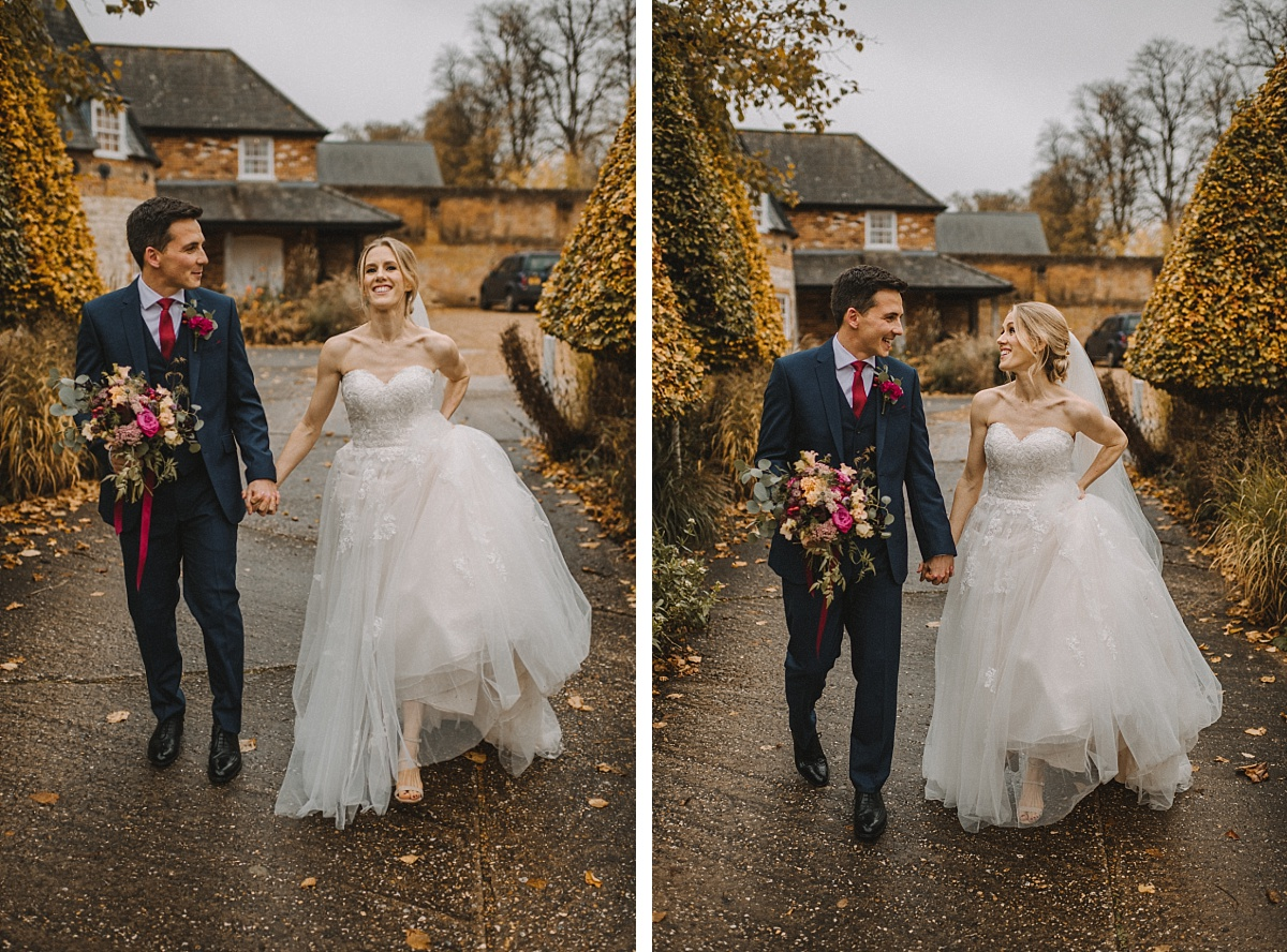 2 photos of newly married couple at Bury Court Barn