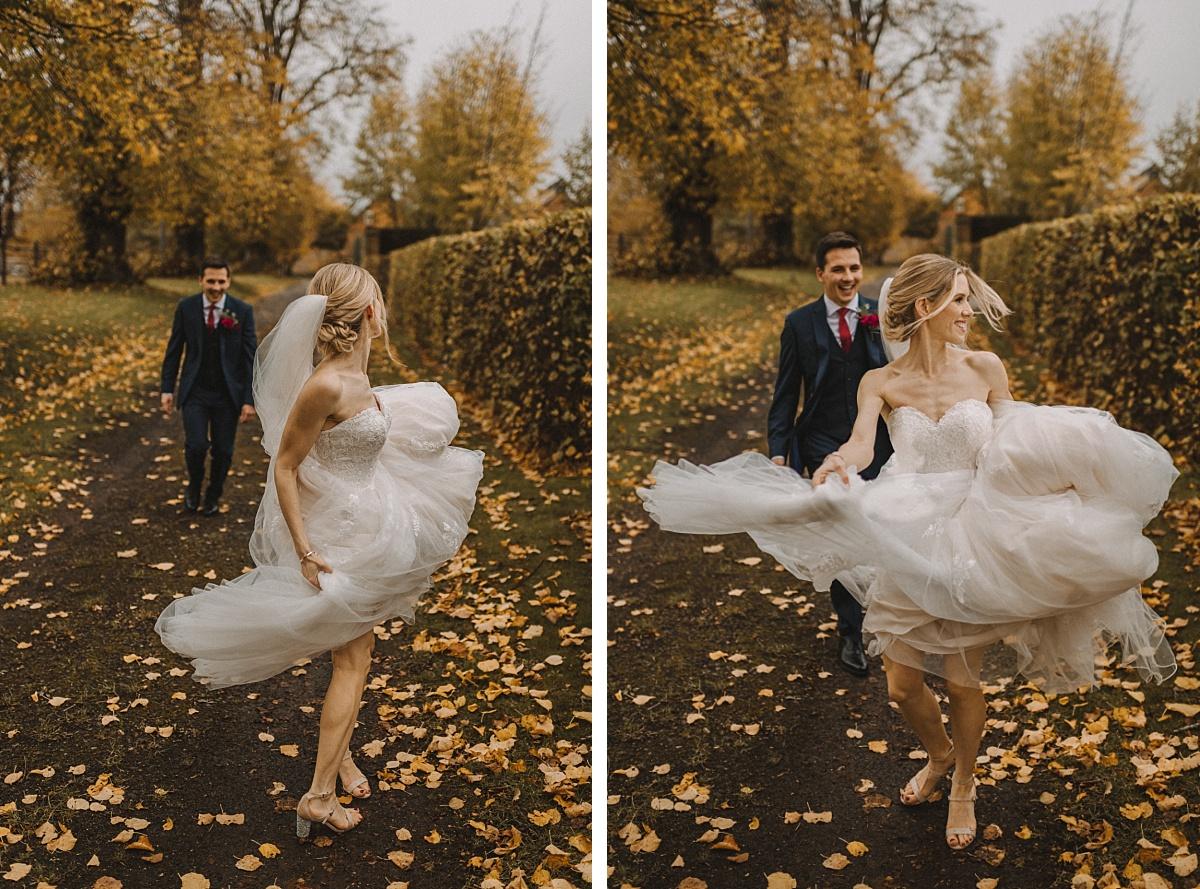 bride dancing infront of groom