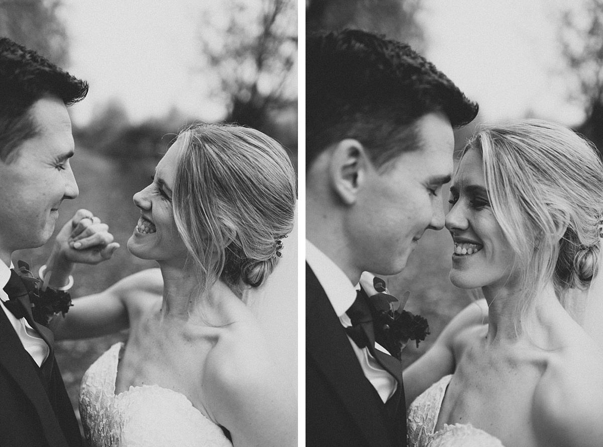 2 black & white photos of happy couple at Bury Court Barn