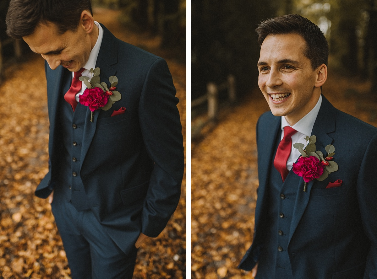 Close up photo of Groom during Autumn
