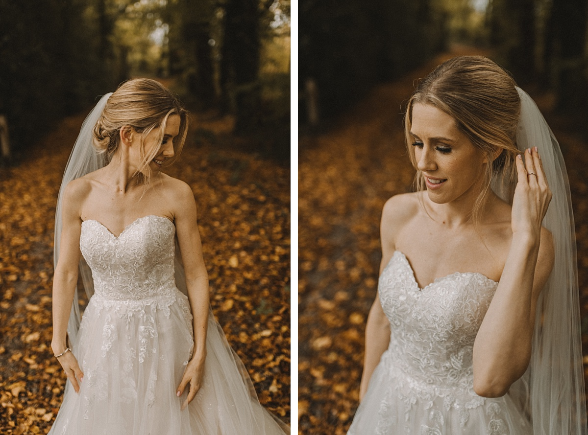 Bride portrait with Autumn leaves behind at Bury Court Barn