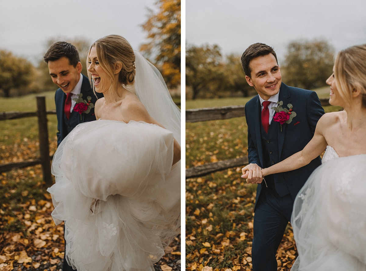 Bride laughing with groom at Bury Court Barn