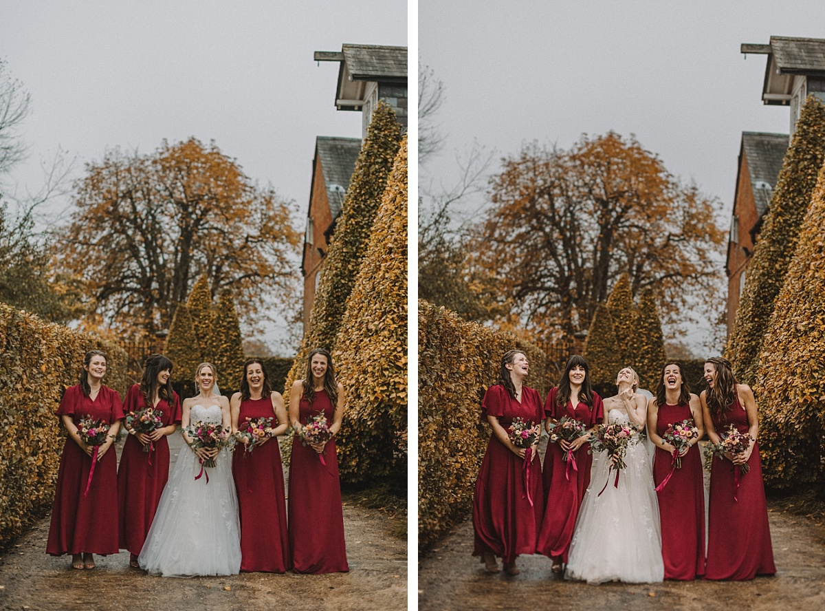 Bridesmaids wedding photograph at Bury Court Barn