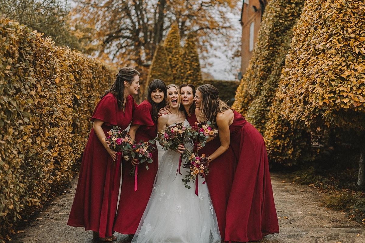 Bridesmaids at Autumn wedding at Barn
