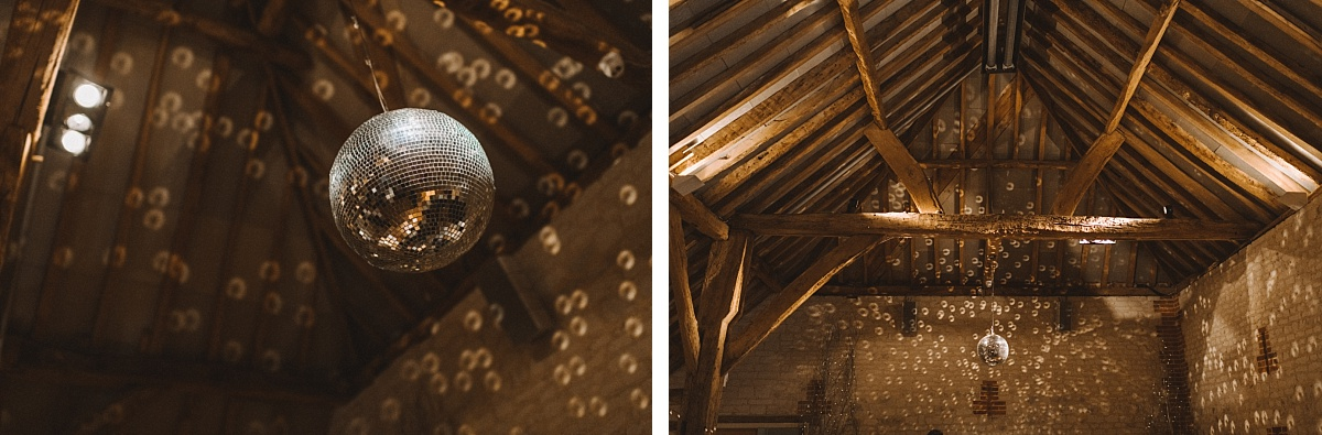 Barn wedding details of disco ball at Bury Court Barn