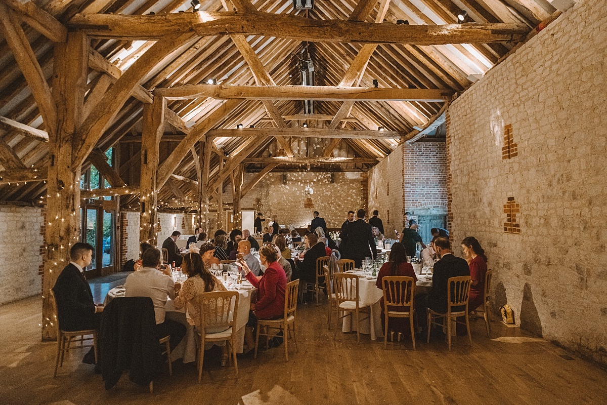 Barn wedding at wedding in Surrey at Bury Court Barn