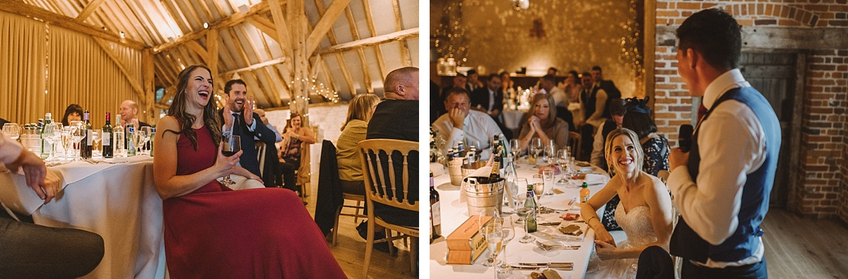 Colour photo of of speechs at Barn wedding