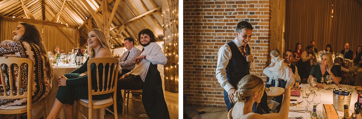 Groom laughing during grooms speech Bury Court Barn