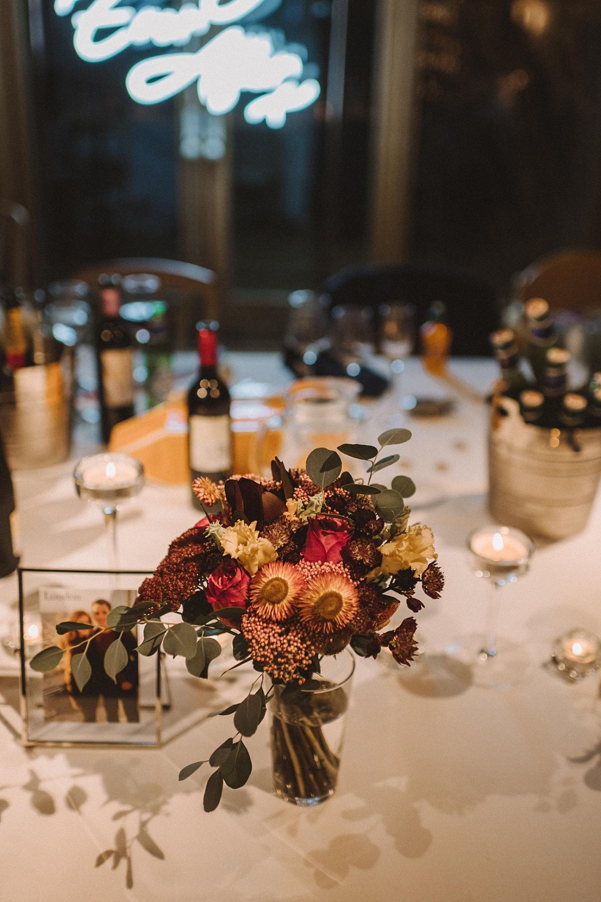 Wedding reception details at Bury Court Barn