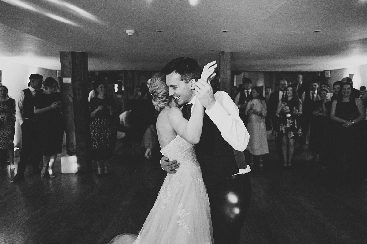 Black & White photo of First Dance at Bury Court Barn