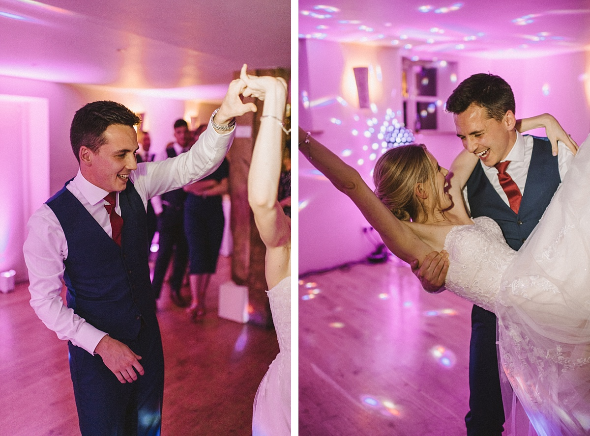 Photography of couple doing first dance at Bury Court Barn