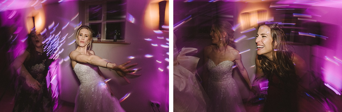 Bride dancing at Bury Court Barn