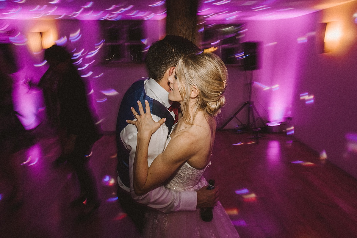 The first dance at wedding reception at Bury Court Barn