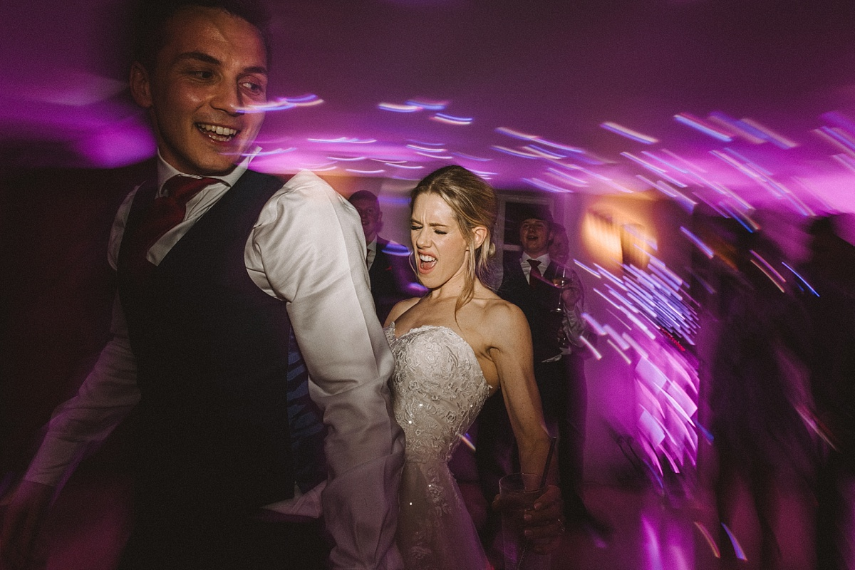 Bride and groomdancing at Bury Court Barn