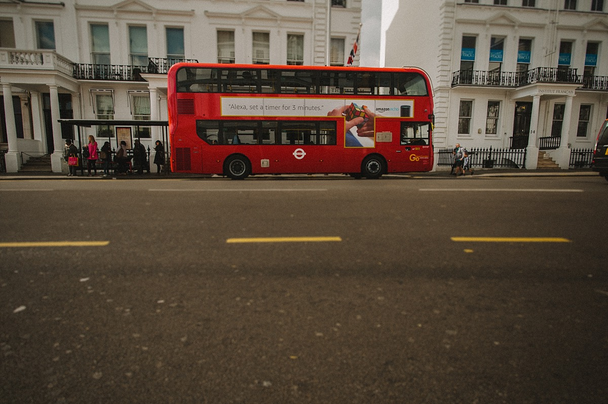 London Bus outside the Ampersand Hotel