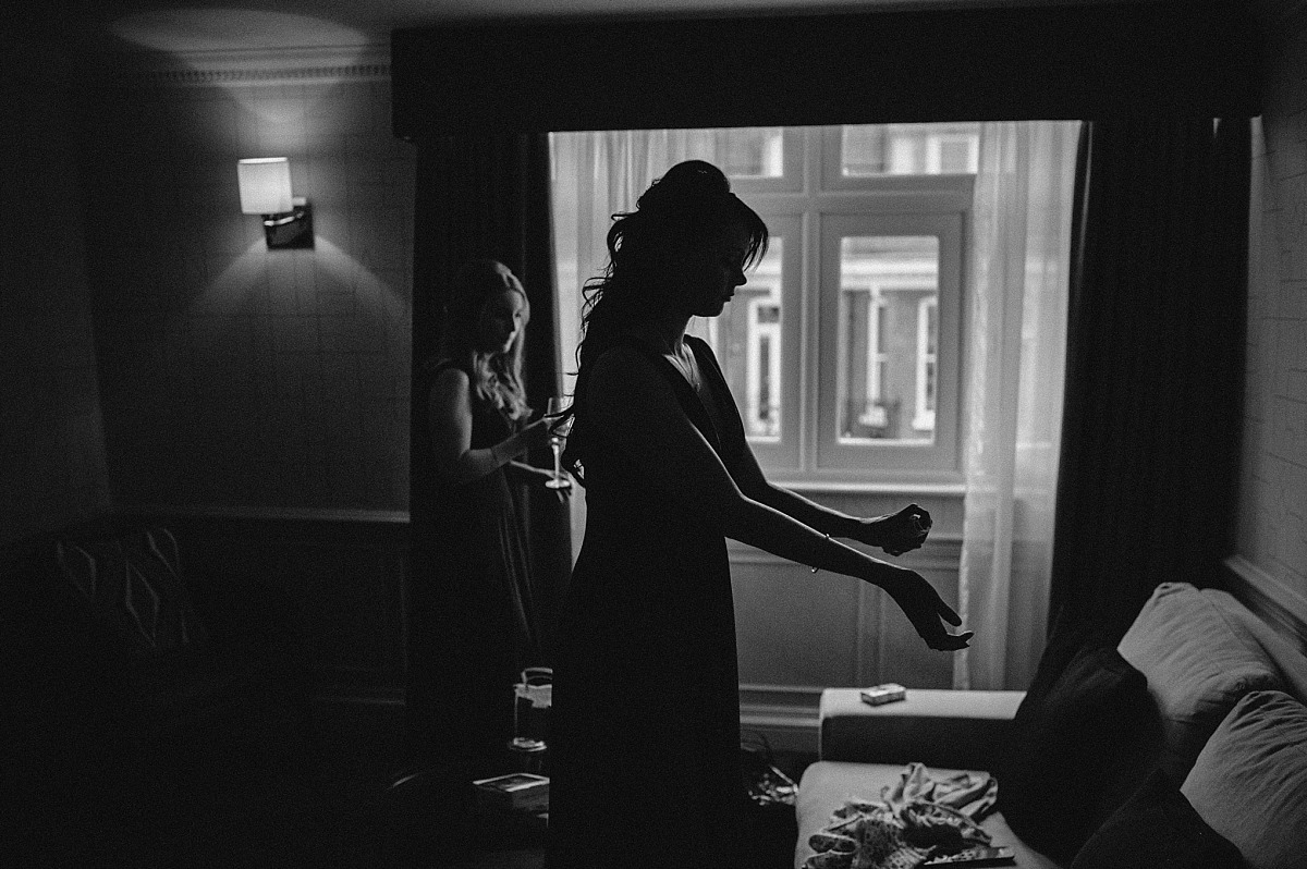 Silohetteof Bridesmaidsgetting ready for wedding