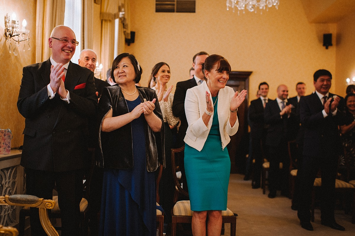 Brides mum clapping after wedding ceremony