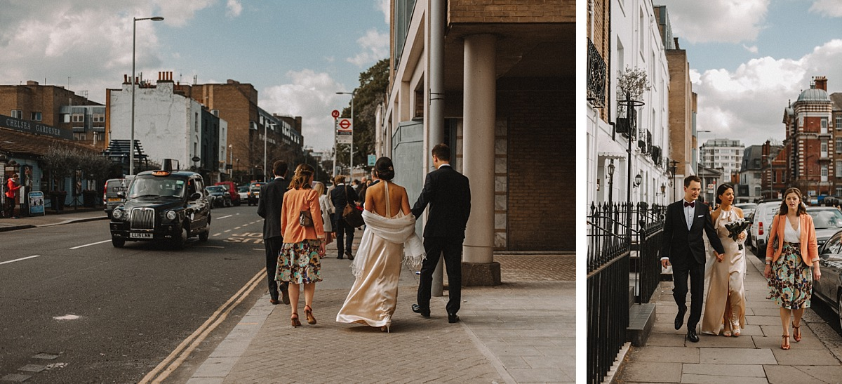 Married couple walking along London street