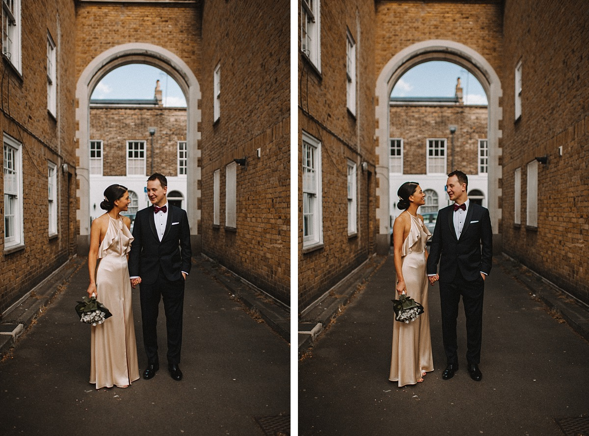 Stylish London couple on wedding day