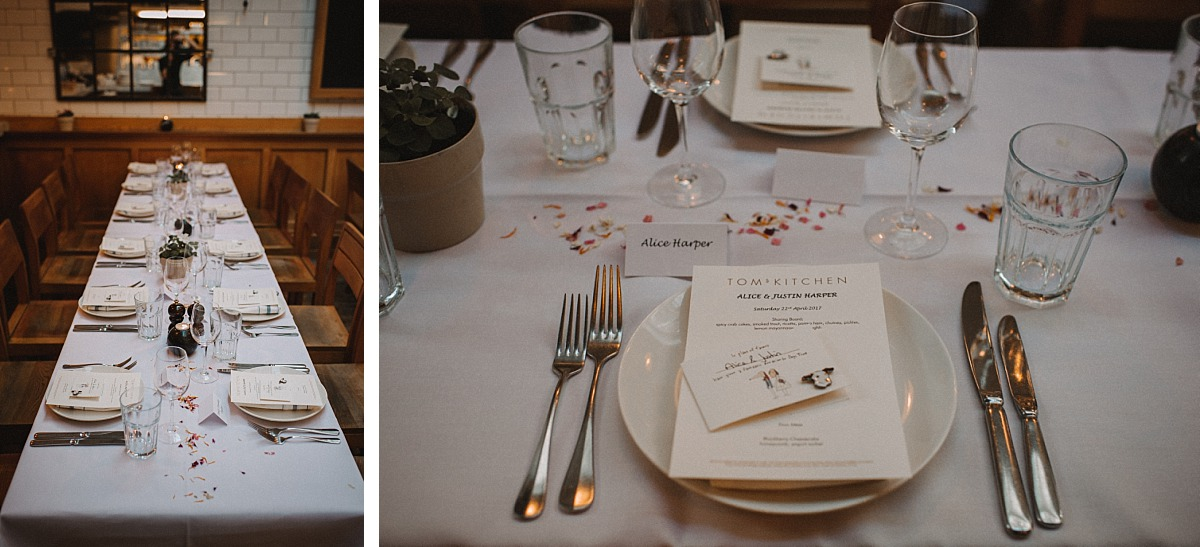 Photo of table layout at wedding reception at Toms Kitchen