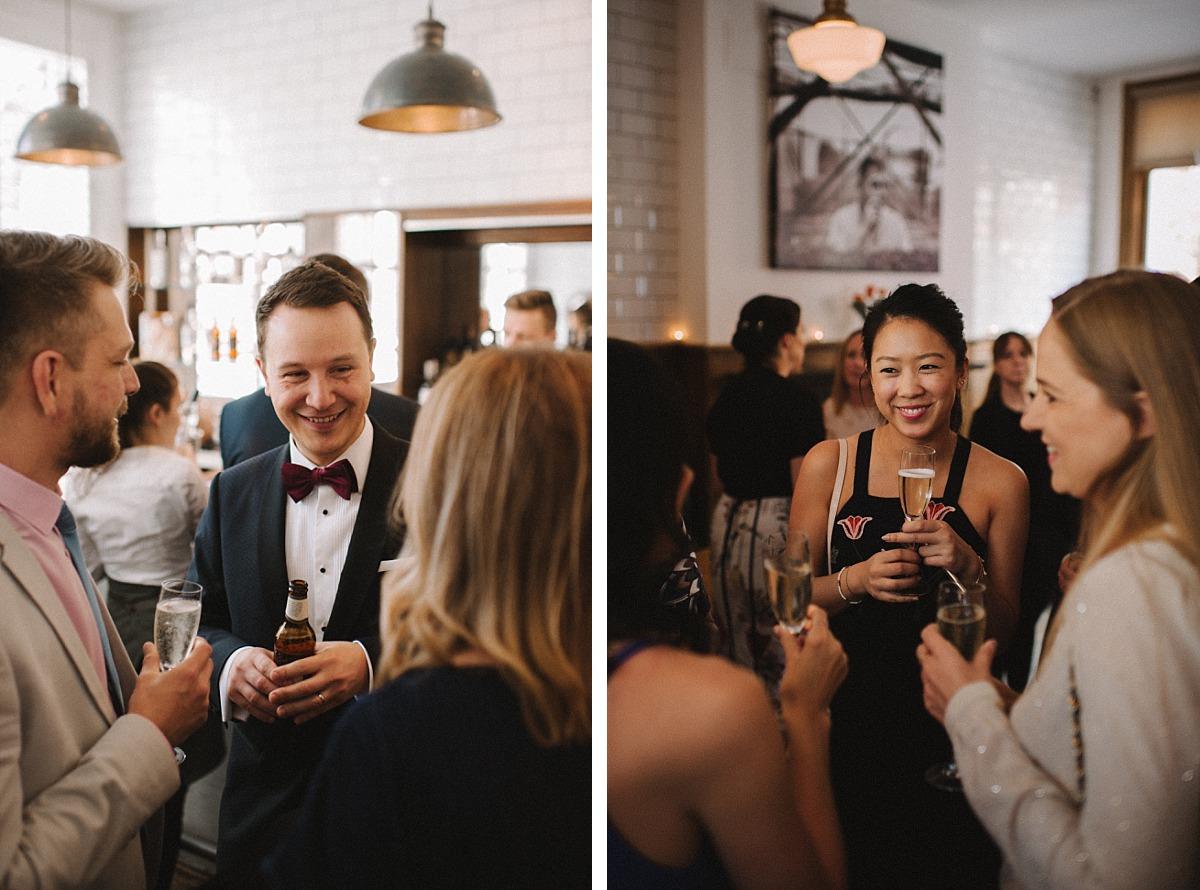 Photo of guests & Groomon wedding day