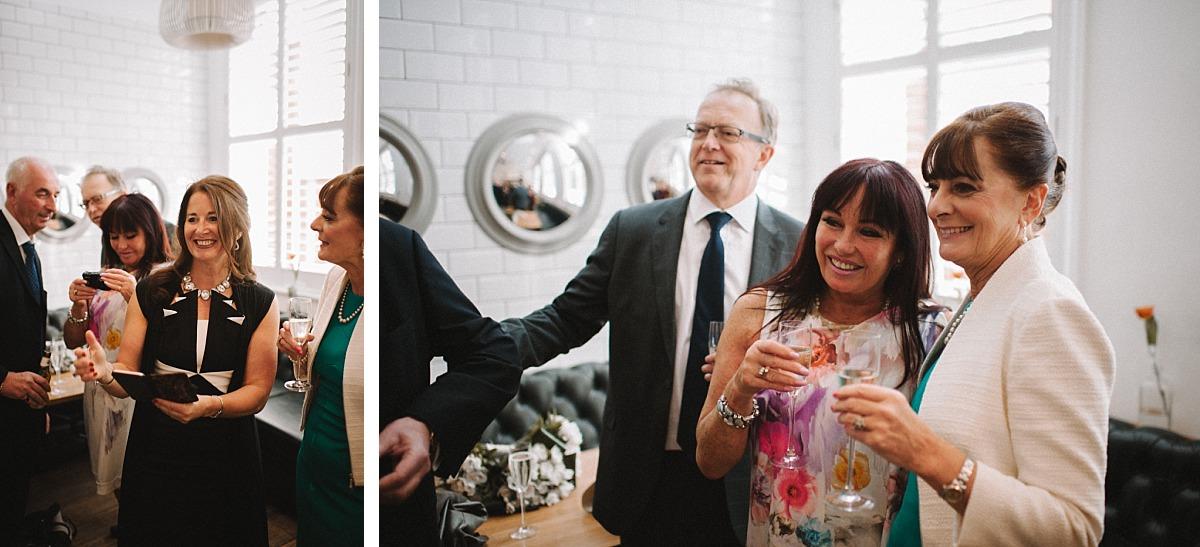 Guests enjoying wedding reception in London