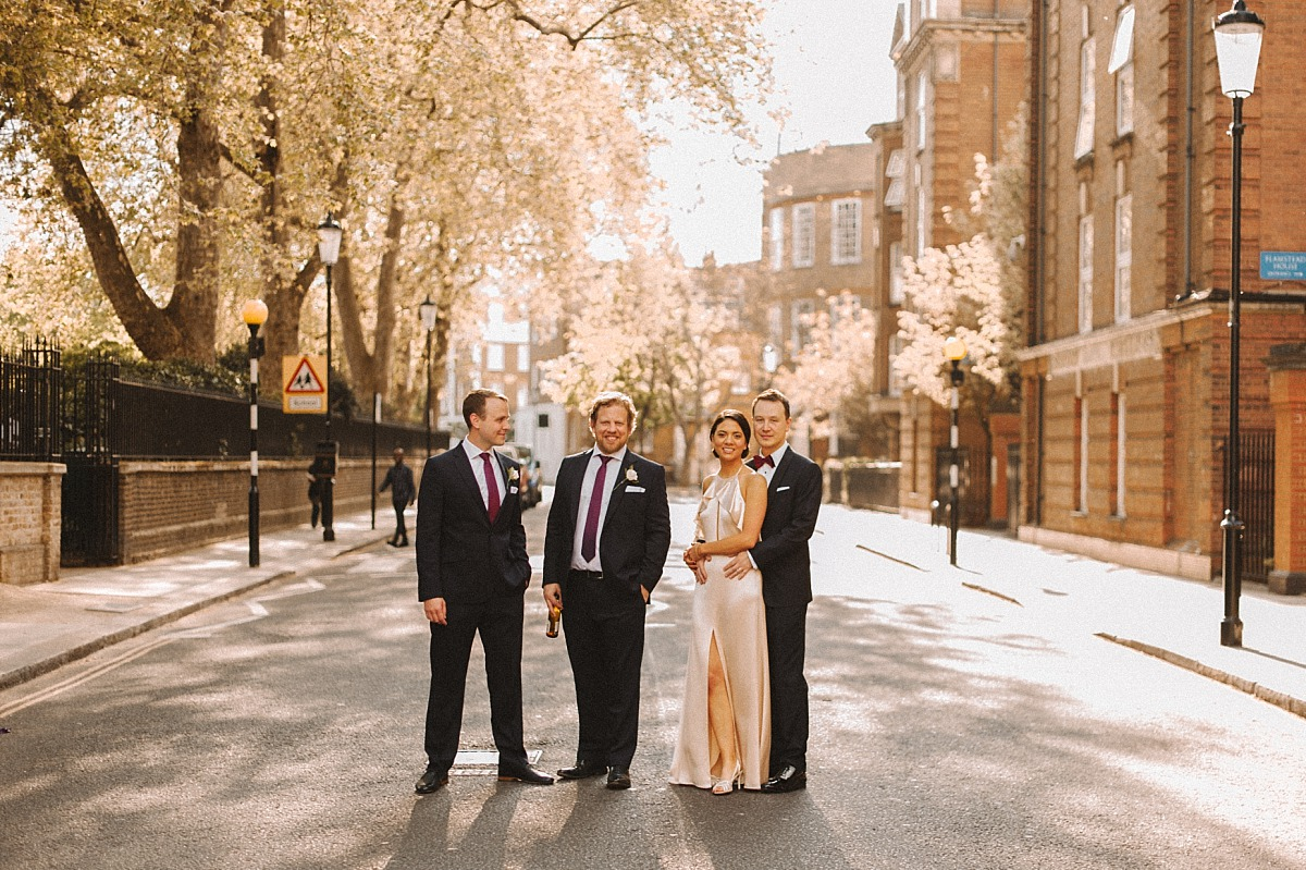 Photograph of stylish wedding guests at London wedding