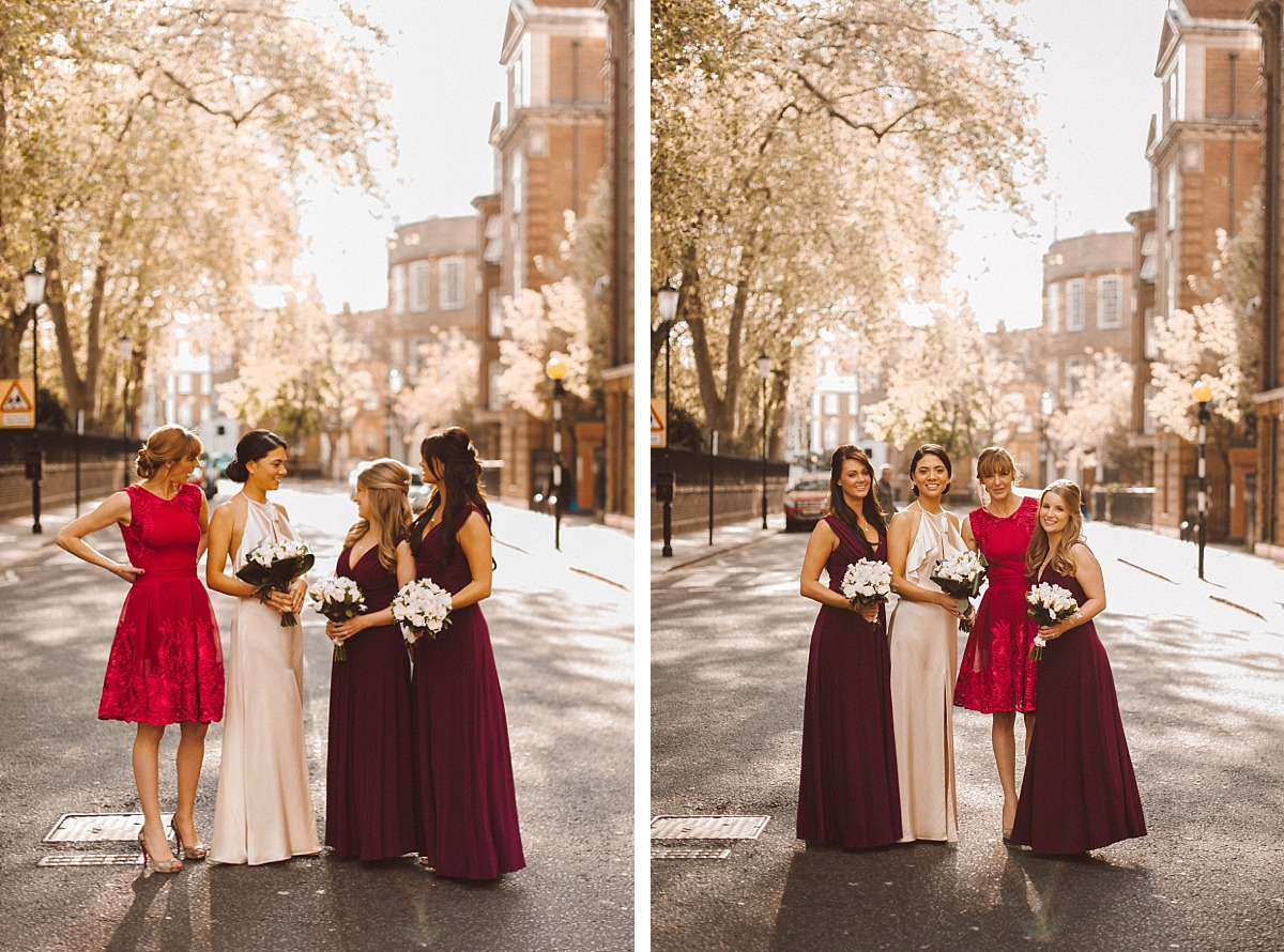Bride & Bridesmaids in street in London